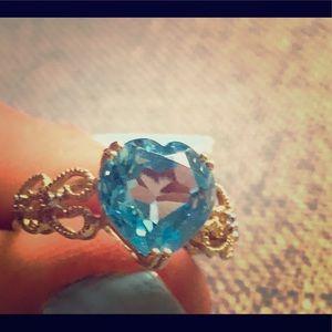 Blue crystal ring